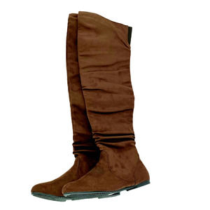 Thigh High Boots Brown Faux Suede 11